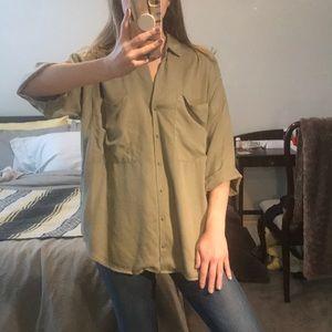 Zara Sage Green Oversized Buttondown
